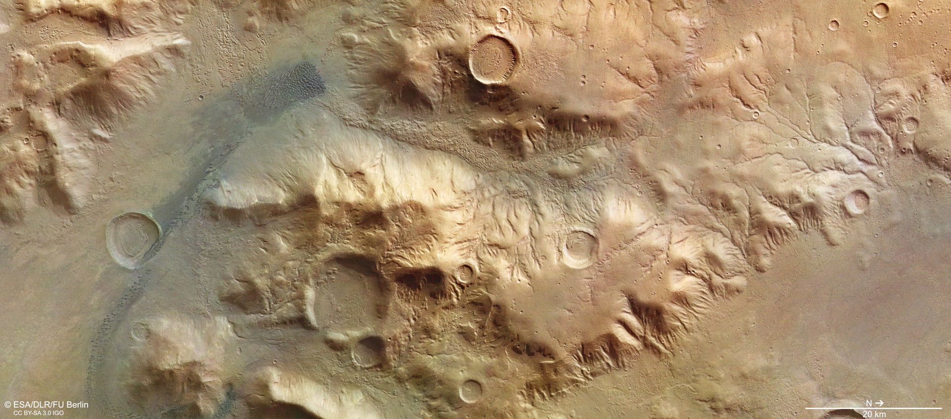 European Mars Orbiter Captures Views Of Landslide On Red Planet While Mapping Surface For Water Rich Sites